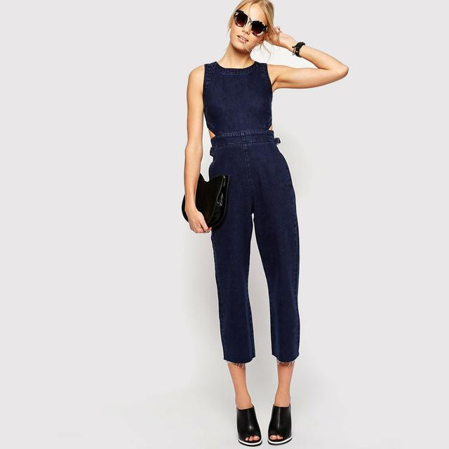 67e9f0fbad5 Cropped Denim Jumpsuit