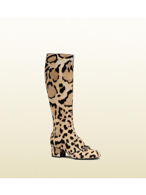 9eef746bacf0 Leopard Print Calf Hair Horsebit Knee Boots   Endource