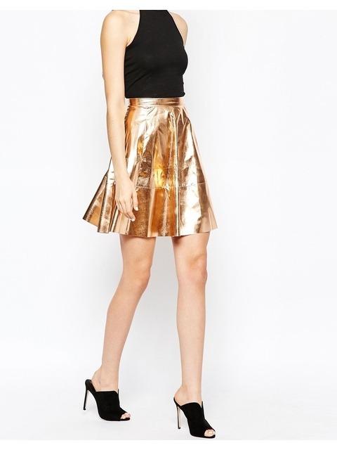 0e180b794d Metallic Skater Skirt | Endource