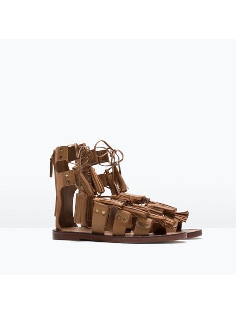 87dcda7ad5a Tasseled Leather Roman Sandals