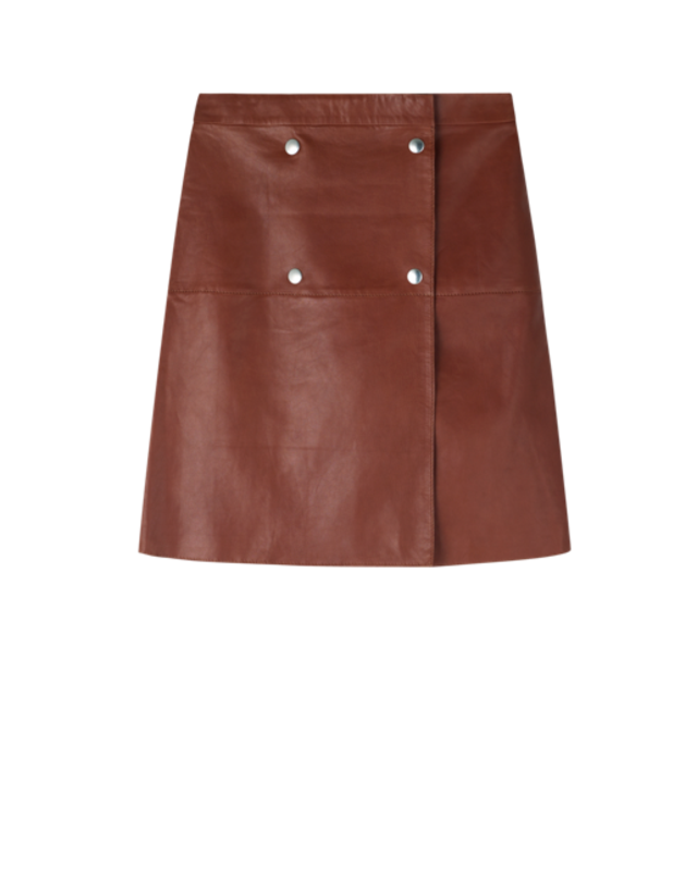 filippa k leather wrap button skirt