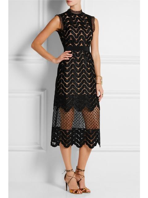 29c60459495c9 Embellished Guipure Lace Midi Dress | Endource