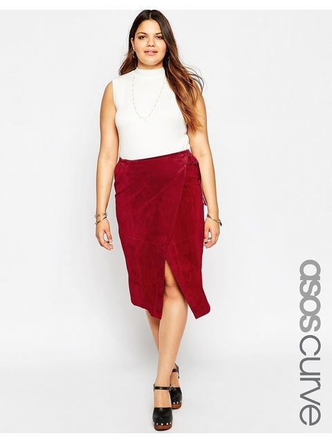 36c696d761 ASOS Curve Suede Wrap Midi Skirt with D-Ring | Endource