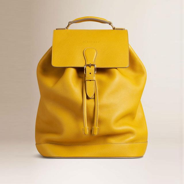 Yellow Leather Backpack Click Backpacks
