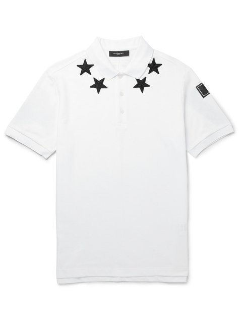 23db3f8b EMBROIDERED STAR-TRIM POLO SHIRT | Endource