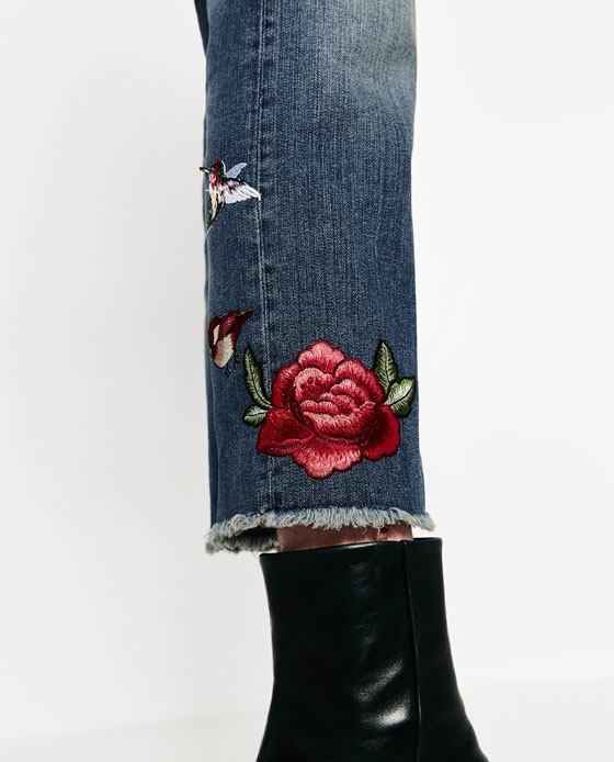 Cropped embroidered jeans endource