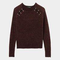 Sweater With Shoulder Splits And Safety Pin Embellishent
