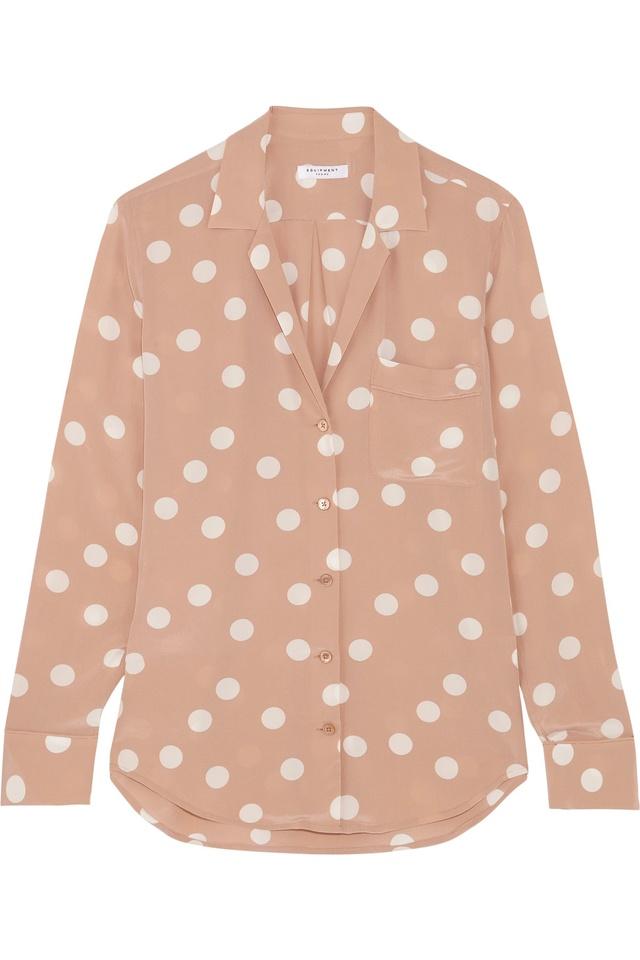 61b41875e3f20 Keira Polka-dot Washed-silk Shirt