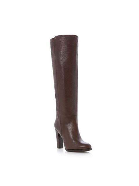 491befb5577 Dune Black Rena Stacked Heel Pull On Knee High Boots