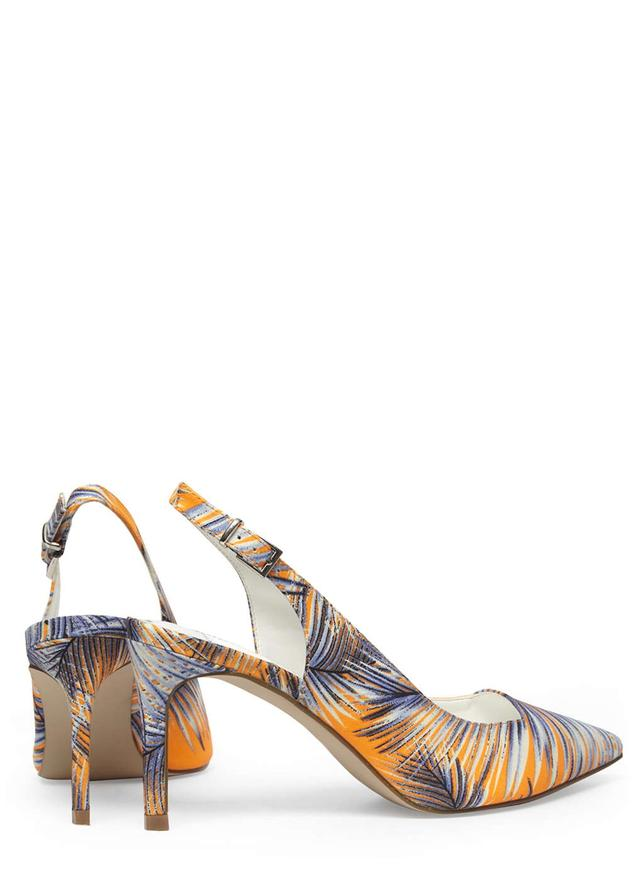 Palm Print Shoes Block Heels