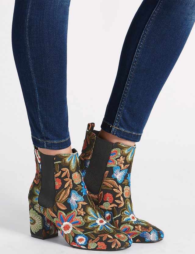 Embroidered floral ankle boots endource