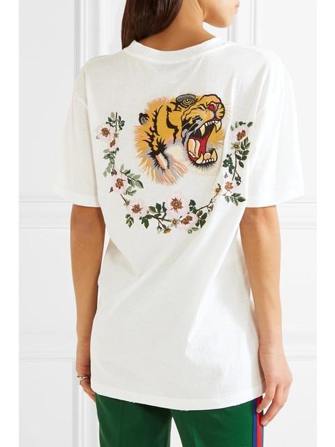 f7c1149d3e87 Appliquéd Distressed Printed T-shirt