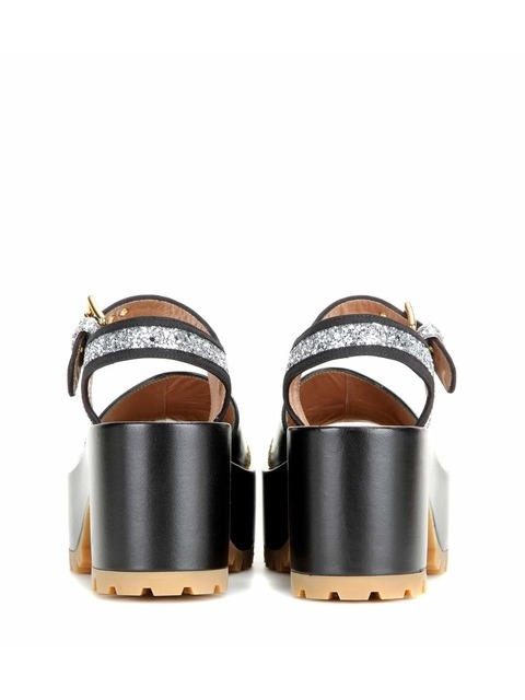 a70a90e44a6 Leather and Glitter Platform Sandals
