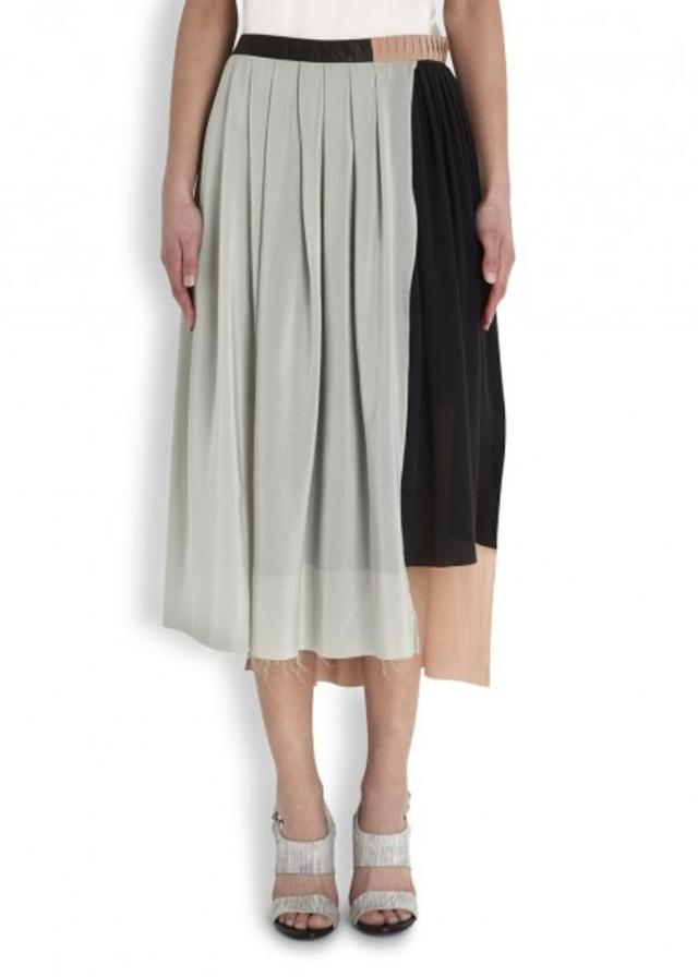 Velvet brushed silk midi skirt | Endource