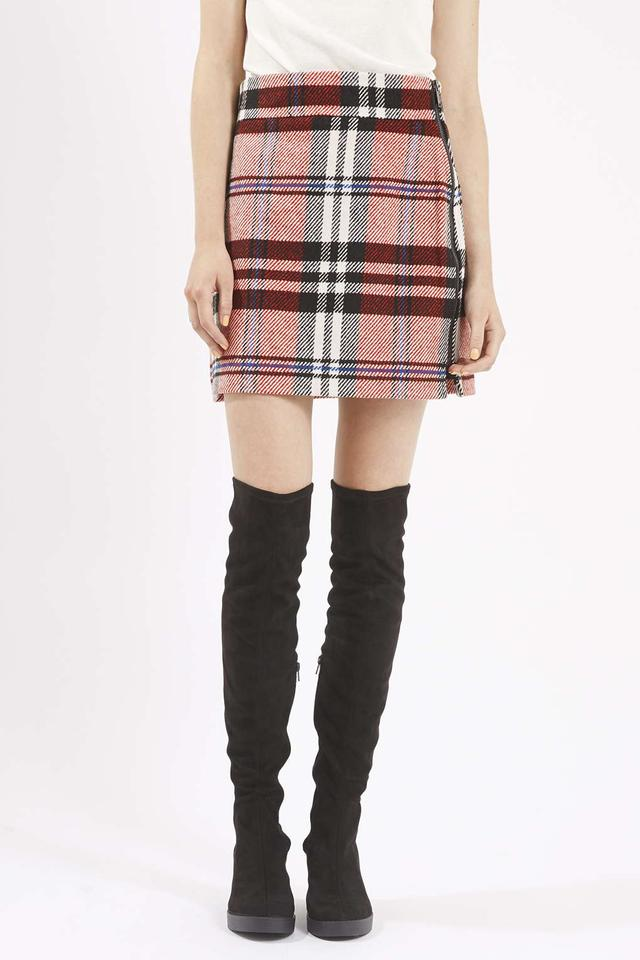 checked twill high waisted skirt endource
