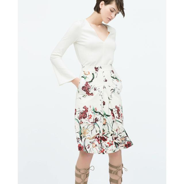 Front Pleat Printed Skirt | Endource