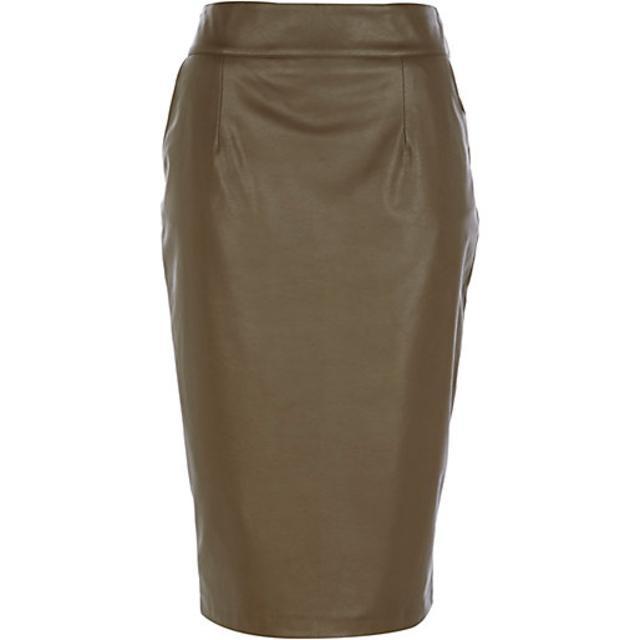 Khaki Leather-Look Pencil Skirt | Endource