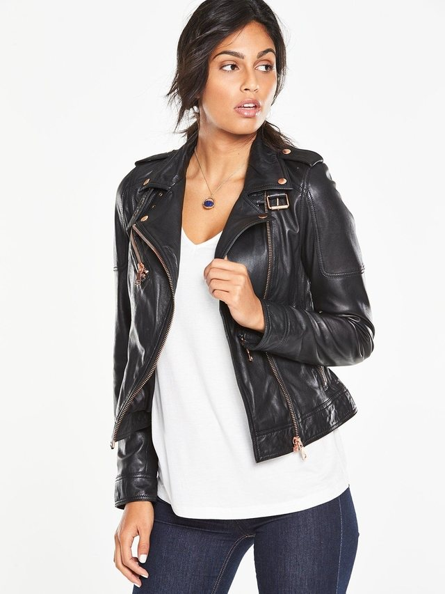 Rose Gold Zip Biker Jacket | Endource