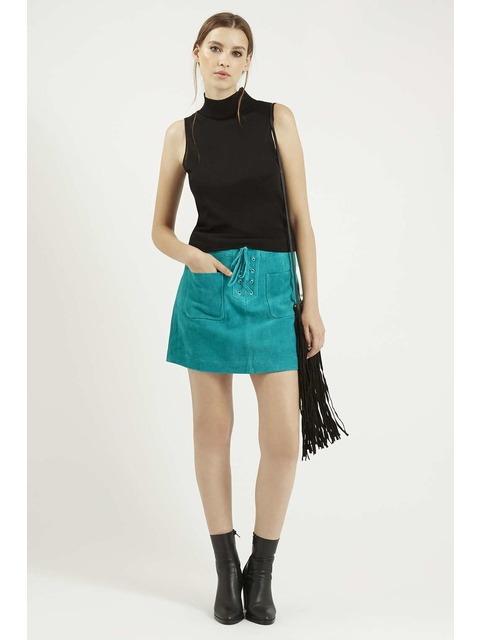 96e0975e7e Lace-Up Suede Skirt | Endource