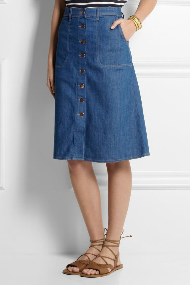 Stretch Denim Midi Skirt | Jill Dress