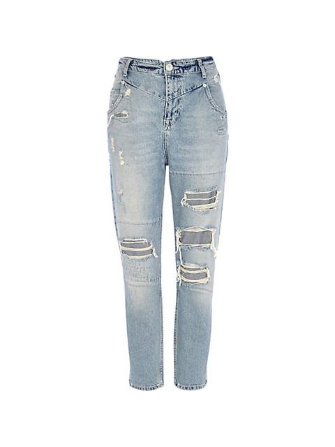 e65c964a47 LIGHT WASH RIPPED SLIM MOM JEANS