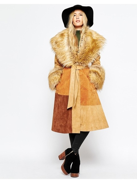 4f76c52f8e7bf Suede Coat with Faux Fur Collar