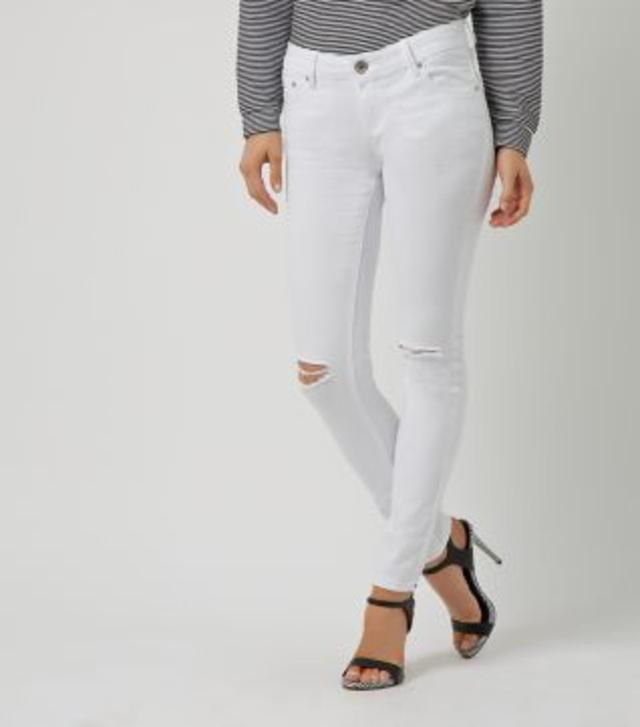 Parisian White Knee Ripped Skinny Jeans | Endource