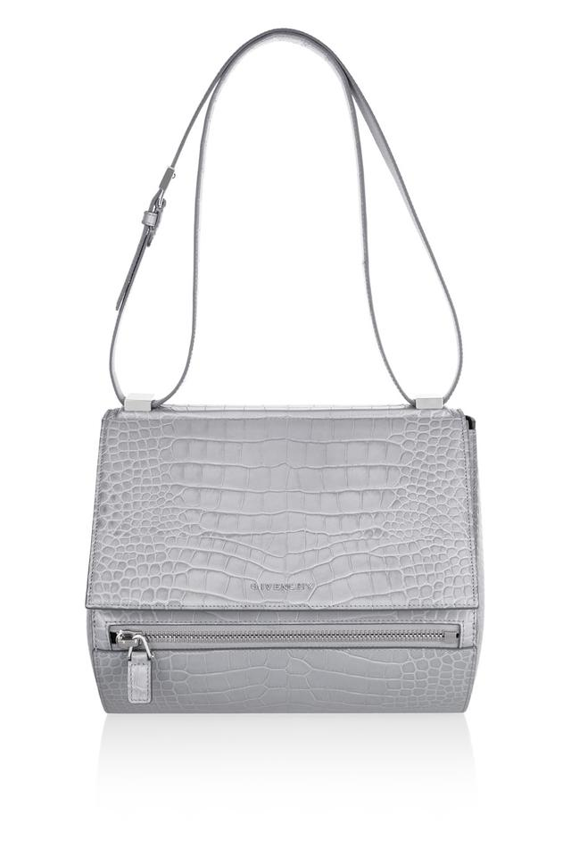 Medium Pandora Box bag in gray croc-embossed leather  44ca23a04bb51