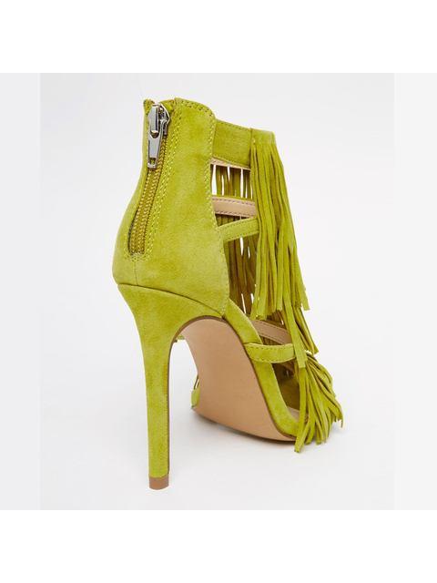 b522e6b5ef27 Fringly Suede Heeled Sandals