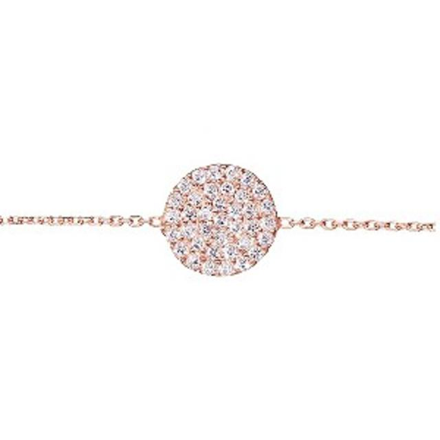 Gaia Silver Rose Gold Plated Cubic Zirconia Disc Bracelet
