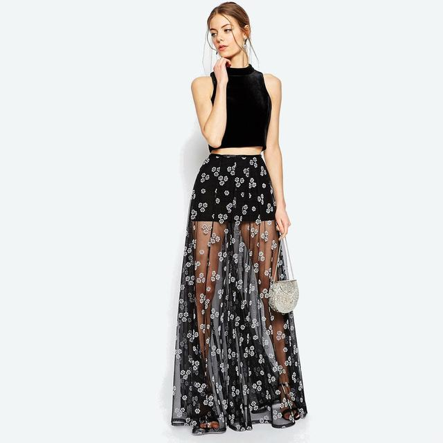 Sheer Floral Maxi Skirt | Endource