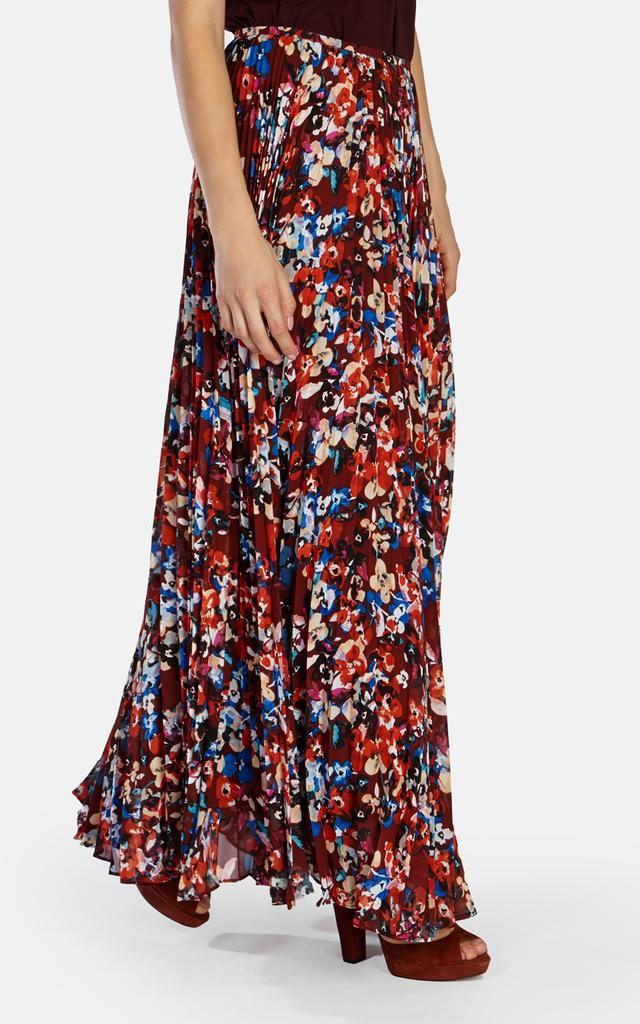 floral printed pleated maxi skirt endource