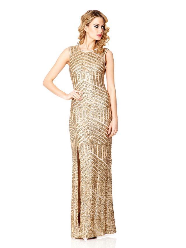Gold Sequin Zig Zag Split Maxi Dress Endource