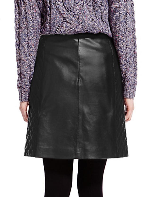 Leather Quilted A-Line Mini Skirt | Endource