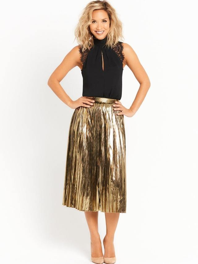 metallic pleated skirt endource
