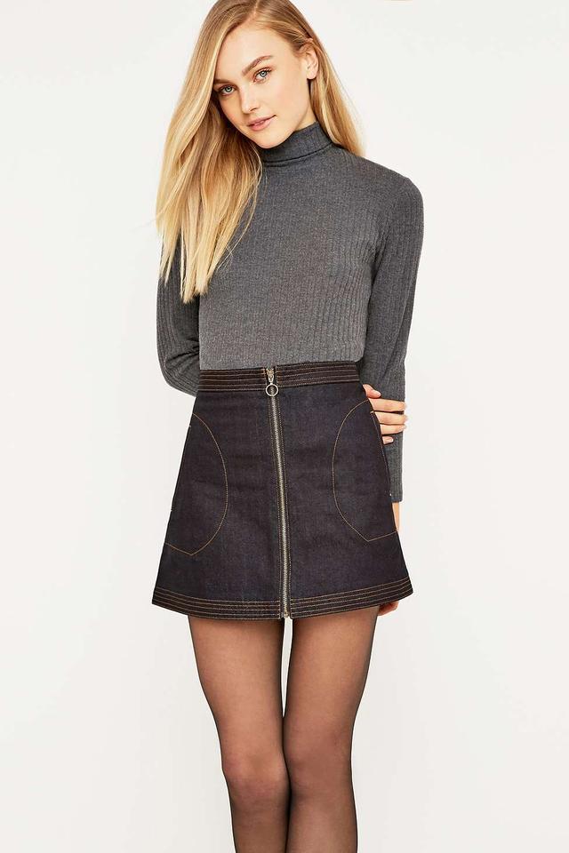A-Line Zip Denim Skirt | Endource