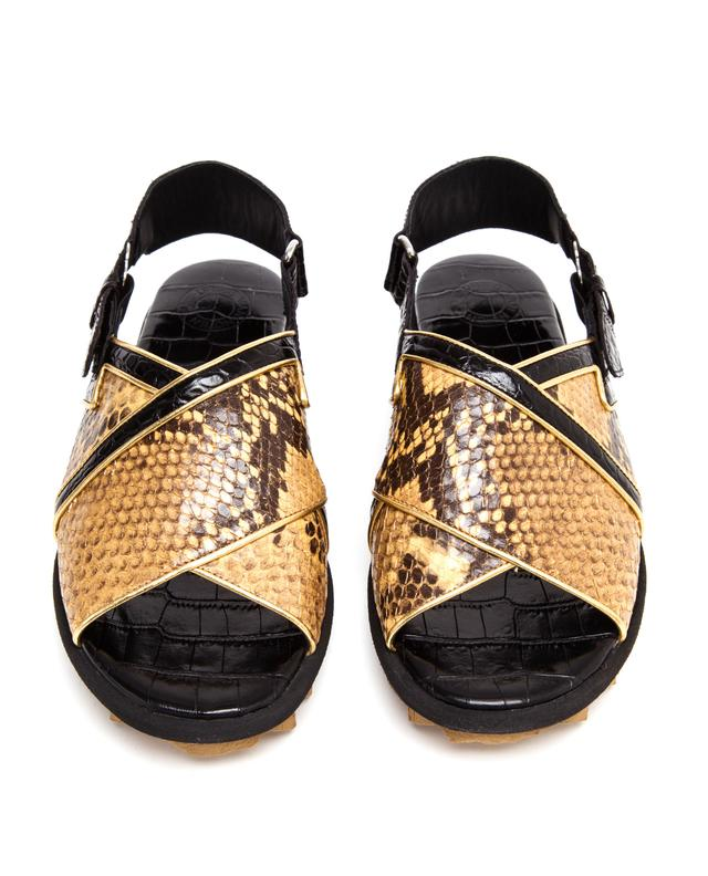 ac9e40d50d60 Python and Crocodile Embossed Leather Sandals