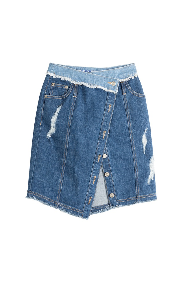 asymmetric denim skirt endource