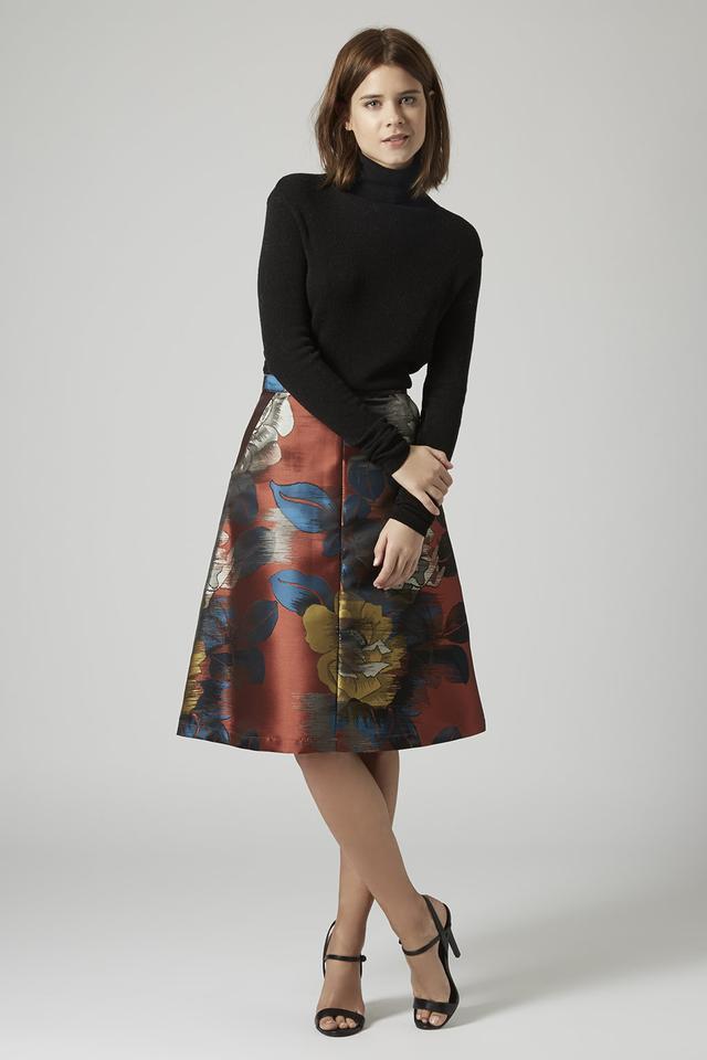 Etch Flower Midi A-line Skirt | Endource