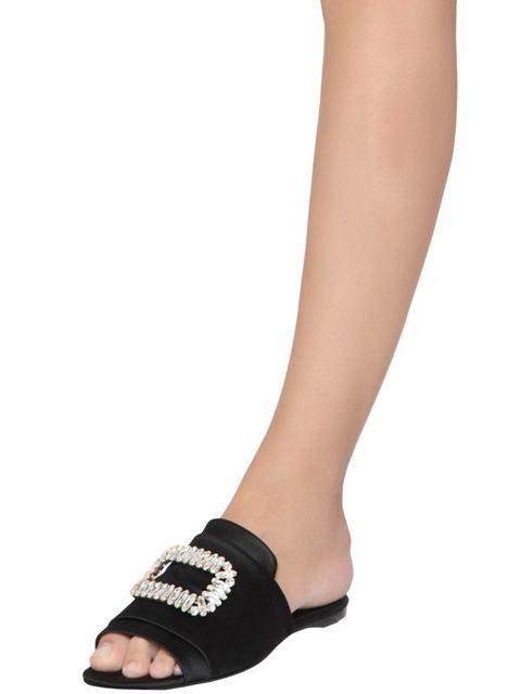 4cb44340289f Tiffany Buckle Satin Slide Sandals