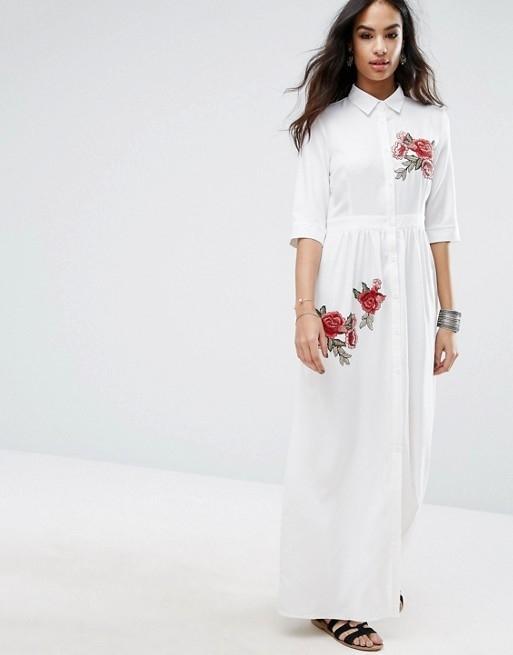 7f24b0debc07 Embroidered Maxi Shirt Dress   Endource
