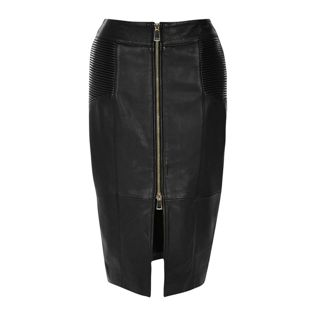 Leather Zip Pencil Skirt | Endource