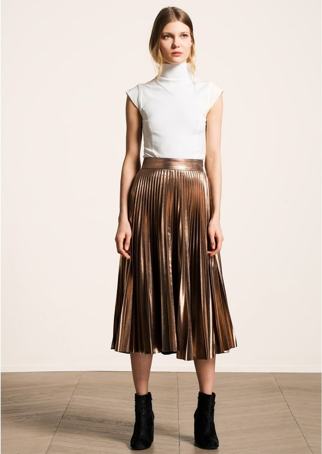 Metallic Pleated Midi Skirt | Endource