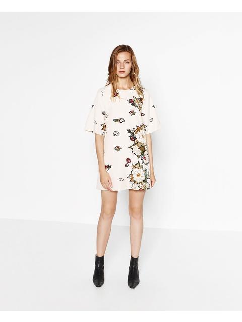 8a4558cdee8 Flower Print Dress Zara - Flowers Healthy