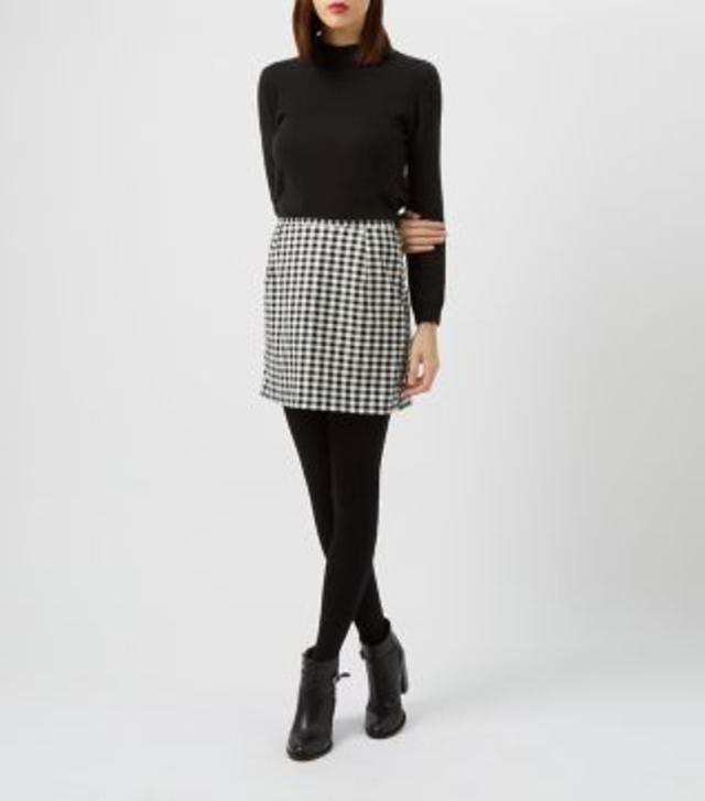 Monochrome Gingham A-Line Skirt | Endource