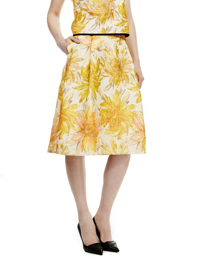 floral jacquard a line skirt endource