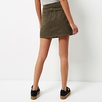Khaki A-Line Denim Skirt | Endource