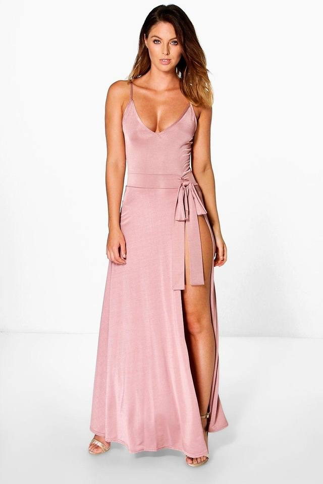 Sheeva Slinky Strappy Side Tie Maxi Dress | Endource
