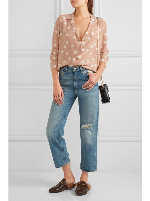 fd4d600d50e73 Keira Polka-dot Washed-silk Shirt