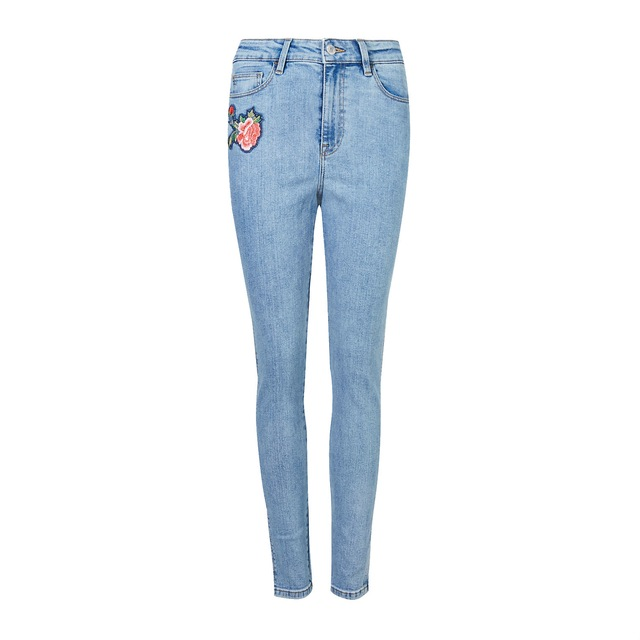 Floral embroidered skinny leg jeans endource